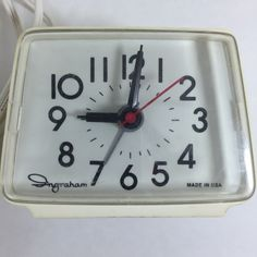 Ingraham Vintage Electric Alarm Clock by Toastmaster Model 49-009 White #Ingraham