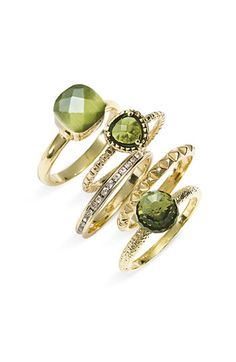 ACCESSORIES:: JEWELRY ~~ Ariella Collection Multi Stone Stackable Rings (Set of 5) available at #Nordstrom