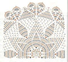 Beautiful Two-Tone Napkins / Crochet Crochet Stitches Chart, Crochet Doily Diagram, Crochet Doily Patterns, Thread Crochet, Crochet Motif, Crochet Lace, Free Crochet, Crochet Dollies, Pineapple Crochet