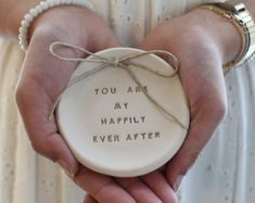 Items similar to Ring bearer pillow alternative, Wedding ring dish You are my happily ever after Ring bearer Wedding Ring pillow Ceramics and pottery on Etsy Polymer Clay Crafts, Diy Clay, Ring Pillow Wedding, Custom Wedding Rings, Wedding Topper, Clay Ornaments, Ceramic Decor, Ring Dish, Air Dry Clay
