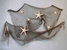 Coastal, beach, nautical home decor, starfish wedding decor, seashell, beach wedding decor, authentic fishing net and star fish