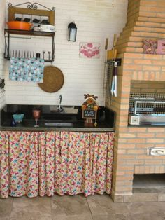 Minha churrasqueira - nova cortina da pia - Borboletas
