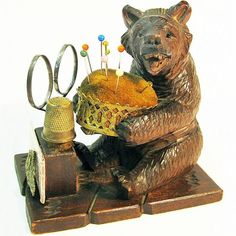 Now 25% Off! Black Forest Hand Carved Bear Souvenir Pin Cushion / Sewing Caddy, Ca. 1880's