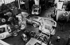 1954: Porsche's workshop in Teloche, just 6 km from the racetrack's southern end. As can be seen, the #41 car in the back with white circle under its number has got a replacement car (the other #41 without the white circle)
