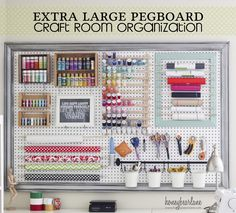 20 DIY Pegboard Craft Spaces. Pegboard is an inexpensive way to make a statement and also provided much-needed storage space and aessibility to a creative area.