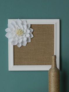 Burlap Covered Framed Cork Board