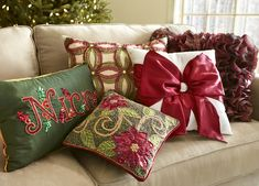 Pier 1 Christmas pillows are jewelry for furniture