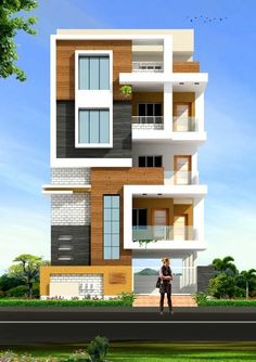 beautiful elevation for a three Townhouse Designs, Duplex House Design, House Front Design, Modern House Design, Independent House, Facade Design, Exterior Design, Modern Bungalow Exterior, House Elevation