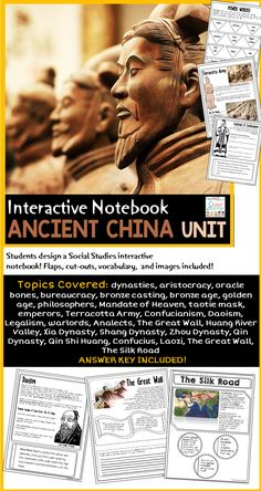 Ancient China Interactive Journal Unit - Part of the Ancient Civilization Series for 6th Grade Social Studies Curriculum