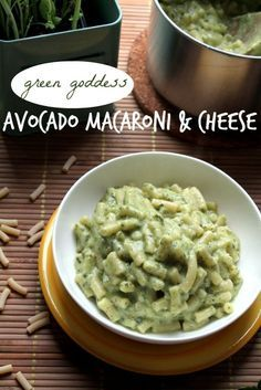 Mac and cheese goes green!  With Avocado, garlic and capers this is adult mac & cheese.  Not sure you need even need the cheese. SQE