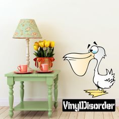Pelican Cartoon Critter Vinyl Wall Decal Car Sticker TF Color 001