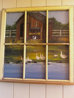 sandy knodel artwork window pane with barn and geese painting