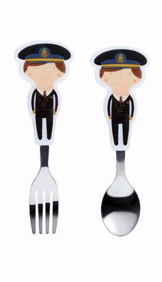 Little Travellers pilot fork and spoon set Little explorers who love to fly can enjoy tucking in to dinner using their own fun fork and spoon set that have handles in the shape of our pilots.