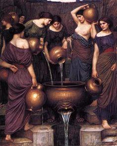 John William Waterhouse >> The Danaides  |  (Oil, artwork, reproduction, copy, painting).