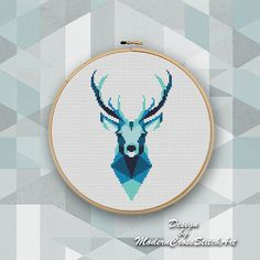 Geometric Wild Deer Cross Stitch pattern Deer Pattern Mountain