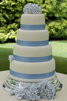 Ivory 4 tier wedding cake with fresh hydrangeas – 6″, 8″, 10″ and 12″ Elegant Cake Design, Elegant Cakes, Unique Cakes, 4 Tier Wedding Cake, Wedding Cakes, Blue Hydrangea Wedding, Baby Blue Weddings, Blue Cakes, Fancy Cakes