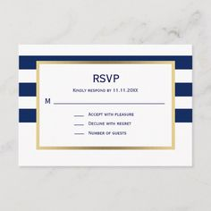 Shop Nautical Navy Blue White Stripes RSVP Wedding created by UniqueWeddingShop. Personalize it with photos & text or purchase as is! Wine Wedding Favors, Blue Wedding Invitations, Wedding Rsvp, Wedding Invitation Design, Wedding Cards, Wedding Venues Scotland, Blue And White, Navy Blue, White Gold