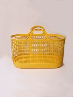 Vintage Rare Ingrid Mid Century Yellow Rubber Plastic Beach Bag Travel Tote Laundry  =====  My Grandmother used to use one of these for her knitting.  I remember the plastic would get brittle and crack.