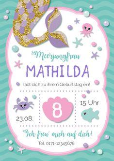 Süße Einladungskarte Zum Kindergeburtstag Für Kleine Meerjungrauen. Toll  Zur Mermaiding  Oder Schwimmparty! #