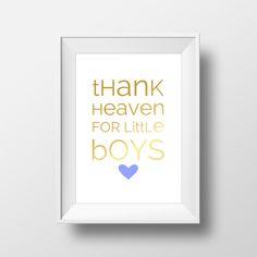 Digital Download Nursery Light Blue Gold Foil Heart Thank Heaven for Little Boys Typography Wall Art Decor Print 8x10 by indulgemyheart on Etsy