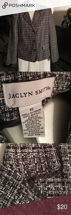 Jacket Jaclyn Smith Black and Gray and White Blazer Jacket trimmed in Charcoal Gray. Beautifully made.  This jacket would be sharp with a black, white, or gray, skirt or a pair pants.  Jacket is brand-new. Jaclyn Smith Jackets & Coats Blazers