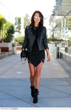 The Aggresive Look - #vivaluxury #womenswear #style #fall #spring #boots #mini #skirt #leather #jacket