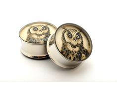 Owl Picture Plugs gauges - 00g, 1/2, 9/16, 5/8, 3/4, 7/8, 1 inch STYLE 4