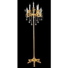 Gold plated 6 light crystal floor lamp Traditional Floor Lamps, Opera, Plating, Chandelier, Bulb, Ceiling Lights, Crystals, Candelabra, Traditional Post Lights