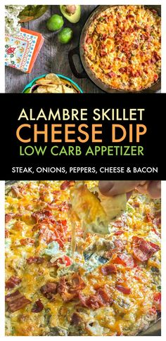 Alambre Skillet Cheese Dip- perfect Cinco de Mayo appetizer with steak, onions, peppers, cheese and even bacon! Low Carb Appetizers, Appetizer Dips, Yummy Appetizers, Appetizer Recipes, Sauce Recipes, Beef Recipes, Real Food Recipes, Mexican Recipes, Dip Recipes