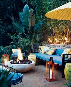 massive fire bowl lanterns tropical look outdoor relaxing pation room