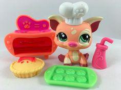 Littlest Pet Shop Peach & Cream Baker Pig #1595 w/Oven & Accessories #Hasbro