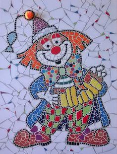 Mozaiek Clown met pompoentje. Gemaakt door Ceciel de Vries. http://mooimozaiek.blogspot.nl/