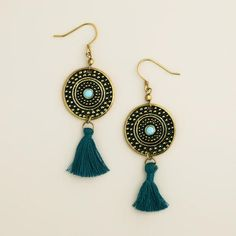 One of my favorite discoveries at WorldMarket.com: Gold and Teal Medallion Tassel Earrings