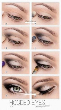 So pretty-------Hooded Eyes Makeup. This works so well for hooded eyes, you wouldn't believe it until u try. It's not that drastic, mostly black eyeshadow, eyeliner and mascara. But it makes a huge difference Eye Makeup Tips, Makeup Hacks, Skin Makeup, Beauty Makeup, Makeup Ideas, Makeup Products, Mac Makeup, Beauty Products, Prom Makeup