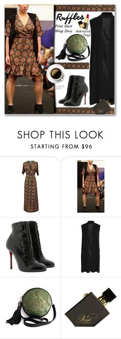 """""""Print Short Ruffle Wrap Dress"""" by jecakns ❤ liked on Polyvore featuring Christian Louboutin, Alice + Olivia, Illamasqua and Tom Ford"""