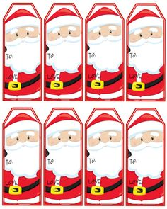 Christmas gift tags with santa and tree etikety pinterest santa claus gift tags printable christmas tags instant download negle Images