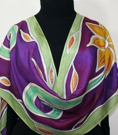 Purple Silk Scarf. Hand Painted Silk Scarf. Olive Handmade Scarf FLOWER SONG Large14x72 Gift-Wrapped Birthday Gift. Silk Scarves Colorado. Handmade Silk Scarf. Hand Dyed. Made in USA. 100% silk. Free Gift Wrapping. MADE to ORDER scarf This is a 100% smooth silk scarf in purple,