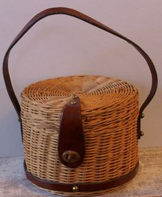 Straw Handbag / Vintage Woven Round Wicker by DuncanLovesTess, $35.00