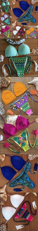 Cheap daines, Buy Directly from China Suppliers:NEW Sexy Brazilian Bikini Swimwear Crochet Bathing Suit Bikini Push Up Swimsuit Biquini Women Beach WearMaillot De Dain Brazilian Bikini Swimwear, Crochet Bathing Suits, Home And Garden, Knitting, Sexy, Bikinis, Summer, How To Wear, Women