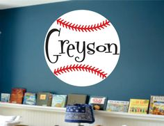 Baseball Wall Decal Decor Personalized Name Nursery Art Sign