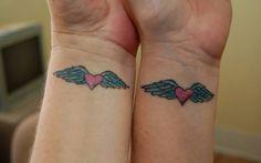 Tattoos:- Tattoos is very interesting and loveable one.Tattoos are some interesting and indelible i. Bff Tattoos, Sister Heart Tattoos, Cute Best Friend Tattoos, Heart With Wings Tattoo, Couple Tattoos, Finger Tattoos, Tatoos, Tattoo Sister, Heart Wings
