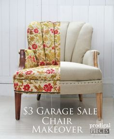 A $3 garage sale channel back chair gets a deconstructed style makeover with linen and upholstery tacks. It's themed makeover time with chairs as the focus.
