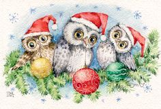 DPF diamond embroidery Three Christmas owls diamond painting cross stich diamond mosaic kit full square needlework home decor Christmas Bird, Christmas Drawing, Christmas Clipart, Christmas Animals, Christmas Pictures, Vintage Christmas, Decoupage, Bird Coloring Pages, Paper Owls