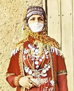 Fashion history: Western Armenian women wore different headbands with decorations kotik and vard throwing a scarf over them