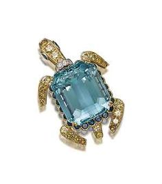 AN AQUAMARINE, SAPPHIRE, COLOURED DIAMOND AND DIAMOND TURTLE BROOCH, BY CARTIER -   The rectangular step-cut aquamarine shell, weighing approximately 69.40 carats, in a circular-cut sapphire surround, to the coloured diamond legs, tail and head, diamond detail and pear-shaped sapphire eyes, 5.5 cm, with French assay mark for gold