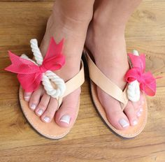 Leather flip flops. Nautical rope shoes. Bow and rope summer shoes. greek leather sandals on Etsy, $62.00