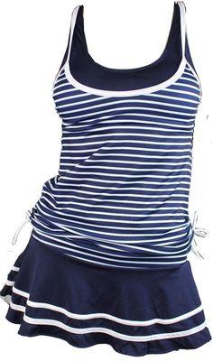 Miyang Women'S Tankini Striped Vintage Swim Dress / 2 Day Shipping