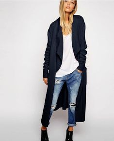 Navy coat + blue jeans