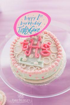 Lollipops theme first birthday - adorable monogrammed smash cake