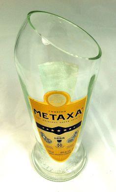 Metaxa Greek Brandy bottle cut into modern Vase by PMGlassArt, $15.00